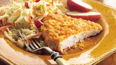 Oven-Fried Pork Cutlets with Apple Slaw
