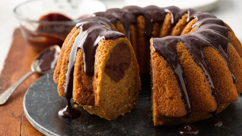 One-Bowl Pumpkin-Chocolate Swirl Cake with Chocolate Ganache