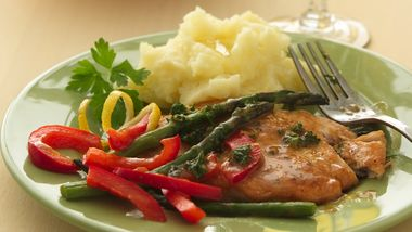 Sautéed Turkey Cutlets with Asparagus and Red Bell Peppers
