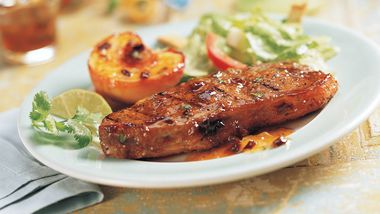 Strip Steaks with Chipotle-Peach Glaze