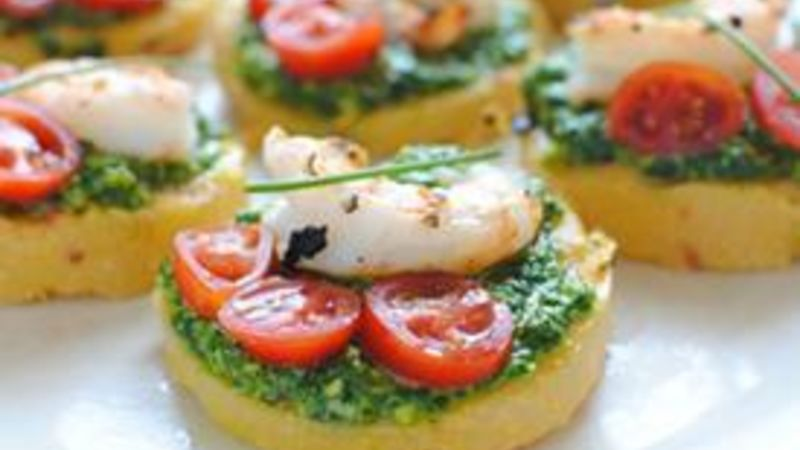 Polenta Bruschetta with Shrimp and Spinach Pesto