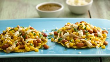 Chicken and Corn Tostadas with Salsa Verde