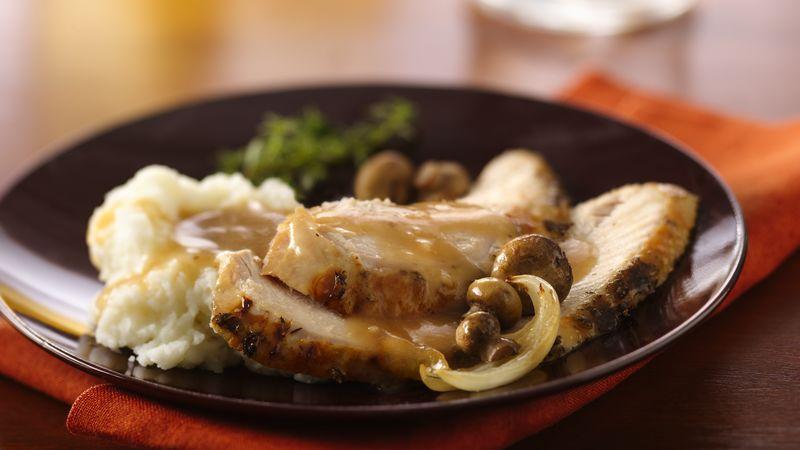 Dijon and Herb Turkey Breast with Mushroom Gravy