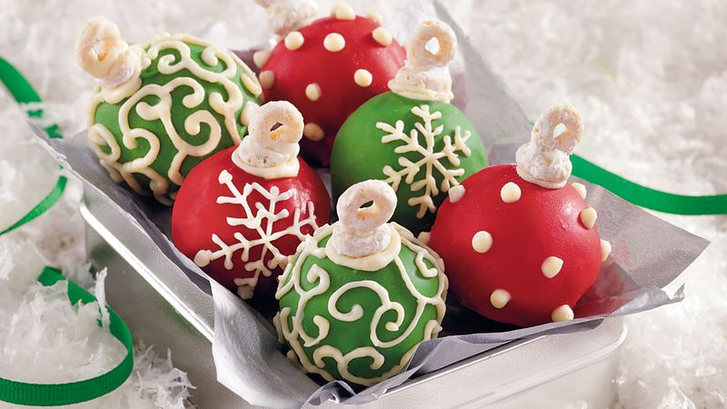 Christmas Cake Decoration Nuts : Cake Ball Ornaments recipe from Betty Crocker