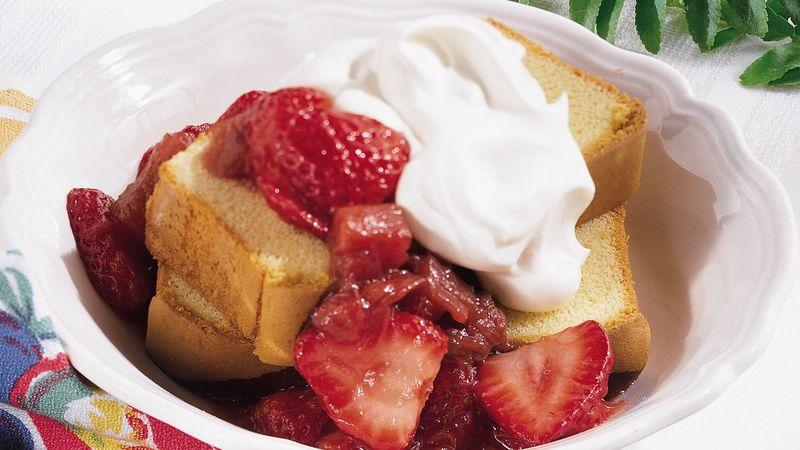 Fresh Strawberry and Rhubarb Sauce over Pound Cake