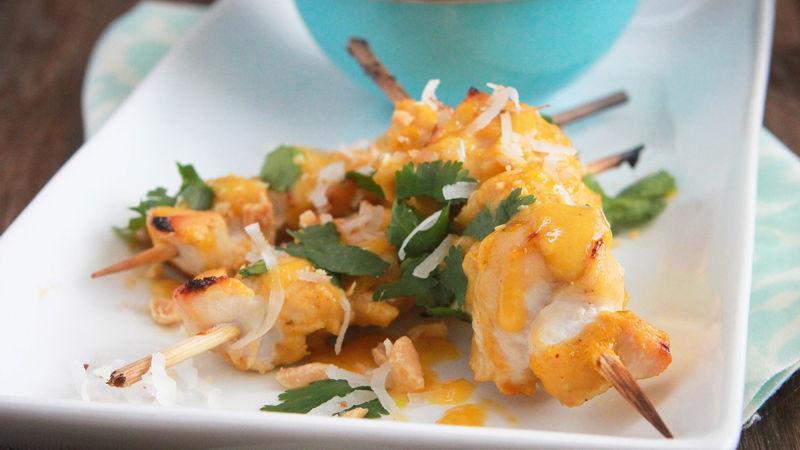 Coconut-Mango-Ginger BBQ Chicken Skewers