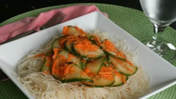 Seasoned Rice Noodles with Cucumber and Carrot Salad