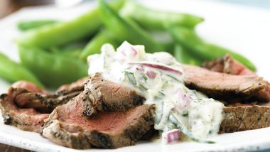 Skinny Beef with Mint Cucumber Sauce