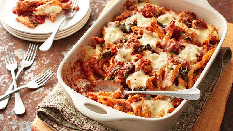 Baked penne with chicken meatballs and ricotta recipe from for Baked pasta with meatballs and spinach