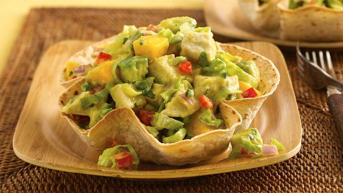 Mango-Jalapeño-Chicken Salad in Cumin Tortilla Bowls