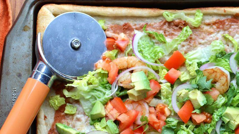 Taco Pizza con Camarones