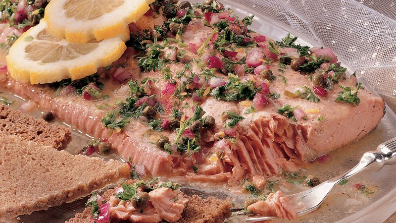 Poached Salmon with Honey-Mustard Sauce