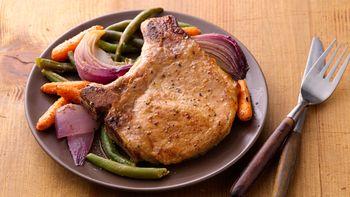 Oven-Roasted Pork Chops and Vegetables