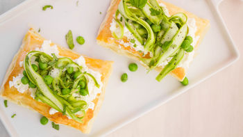 Shaved Asparagus and Goat Cheese Tarts