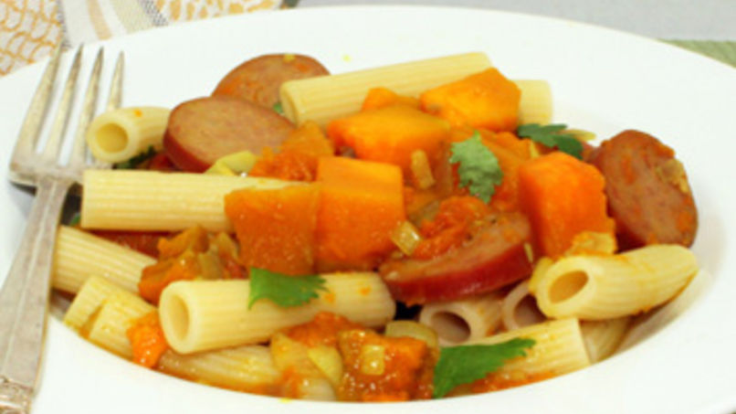 Rigatoni with Sausage and Pumpkin Sauce