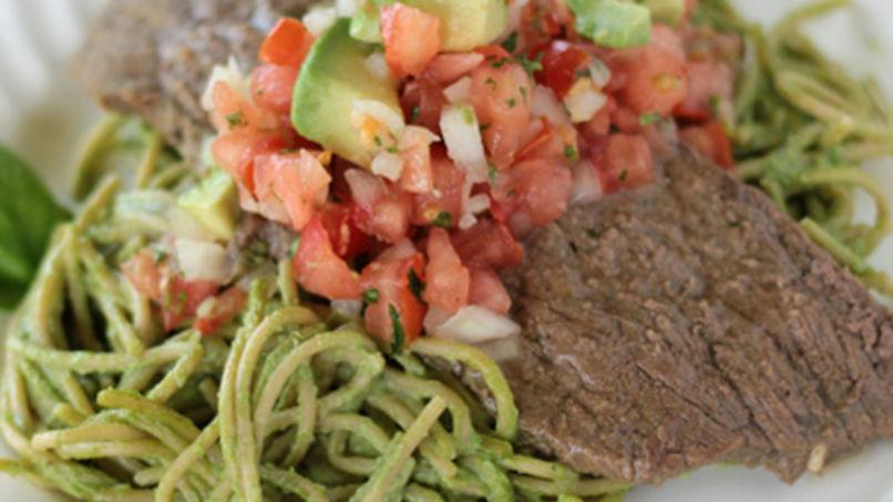 Seared Steak with Avocados over Tallarín Verde