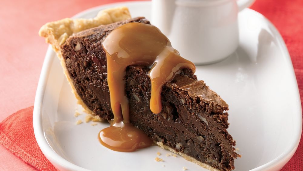 Fudgy Brownie Pie with Caramel Sauce