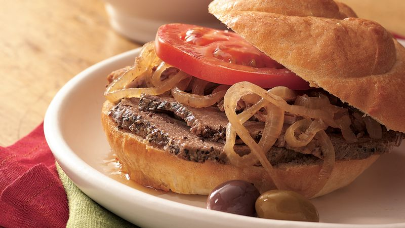 Slow-Cooker Hot Roast Beef Sandwiches au Jus