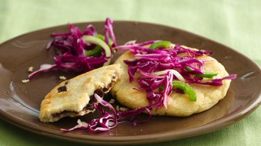 Salvadorean Pupusas with Pickled Cabbage