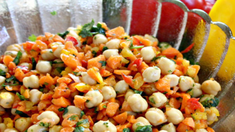Chickpea Salad and Colorful Peppers