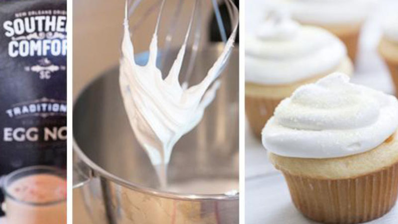 Boozy Eggnog Cupcakes