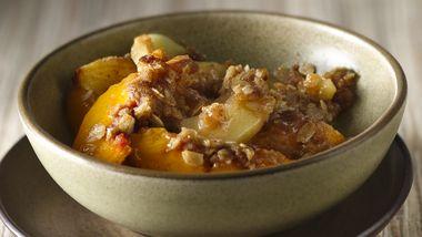 Walnut Apple-Peach Crisp with Cinnamon-Brown Sugar Crumble