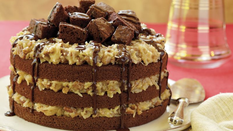 German Chocolate Cake With Chocolate Frosting