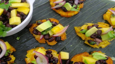 Patacones with Black Beans, Mango and Avocado