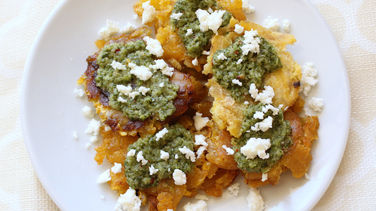 Tostones with Chimichurri and Queso Fresco