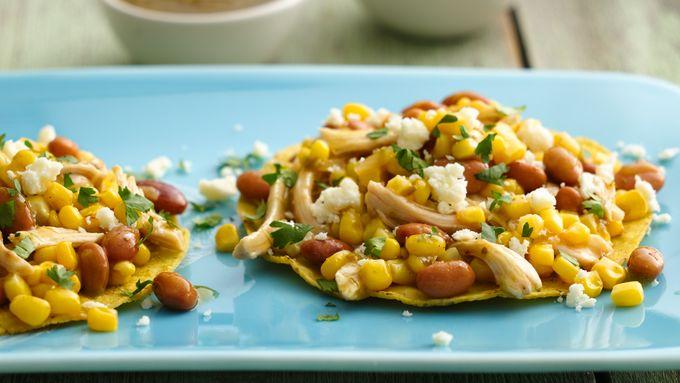 Chicken and Corn Tostadas with Salsa Verde