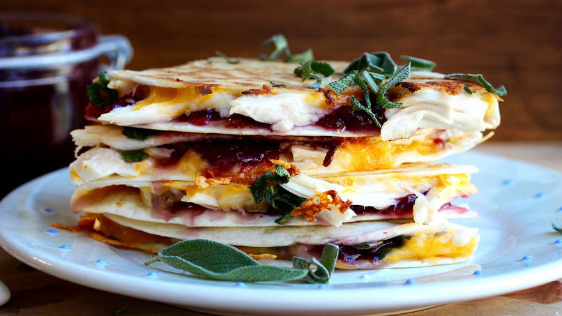 Turkey, Cranberry and Sage Quesadillas Recipe | Que Rica Vida