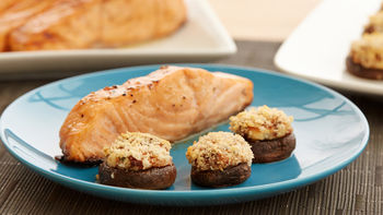 Baked Salmon with Bacon-Stuffed Mushrooms