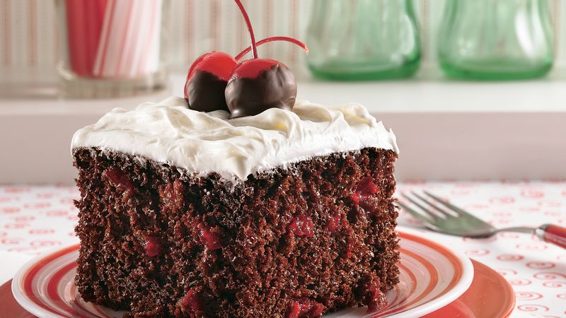 Chocolate Cake With Vanilla Filling And Cherry Pie