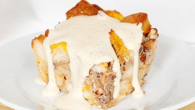 Bourbon Pumpkin Bread Pudding with Bourbon Sauce