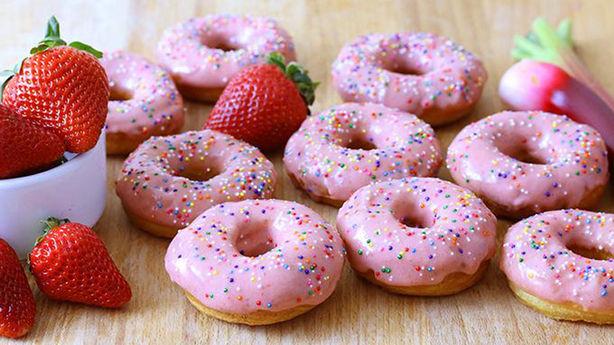 Strawberry Rhubarb Glazed Donuts