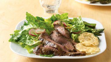 Grilled Flank Steak Salad with Parmesan Crisps