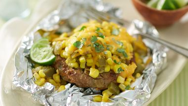 Green Chile Cheddar Burger Foil Packs