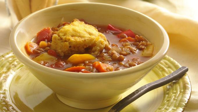 Slow-Cooker Lentil Stew with Cornbread Dumplings
