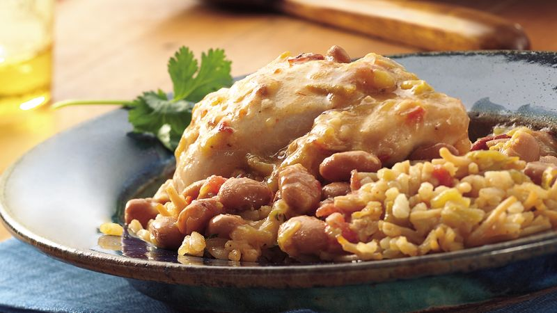 Slow-Cooker Chipotle Chicken and Pintos with Spanish Rice