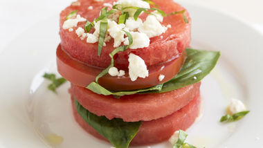 Tomato, Watermelon and Feta Stacks