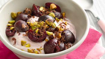 Cherry-Pistachio and Chocolate Yogurt Bowl