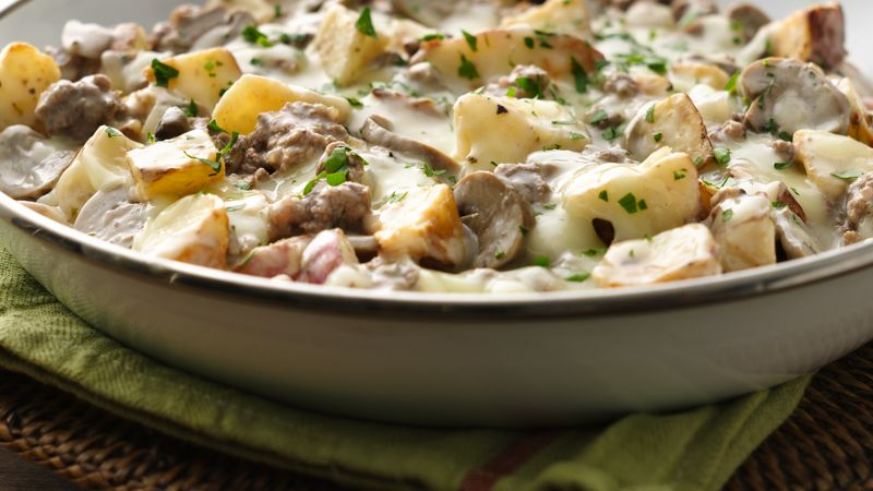 Easy Mushroom and Ground Beef Skillet