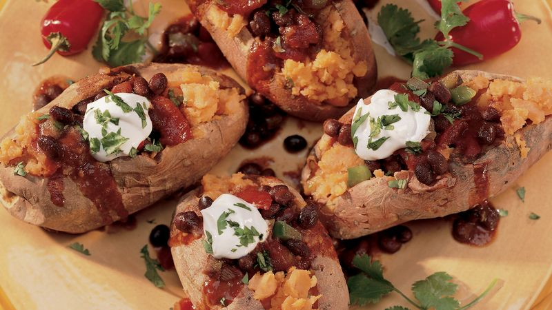 Sweet Potatoes with Spicy Black Bean Chili