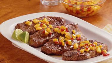 Filetes con Salsa de Mango y Durazno