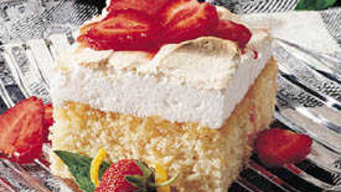 Lemon Meringue Cake with Strawberries