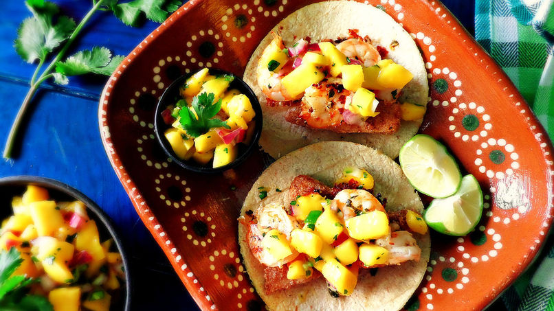 Shrimp and Tilapia Tacos with Mango Salsa