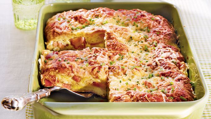 Ham and Cheese Croissant Strata