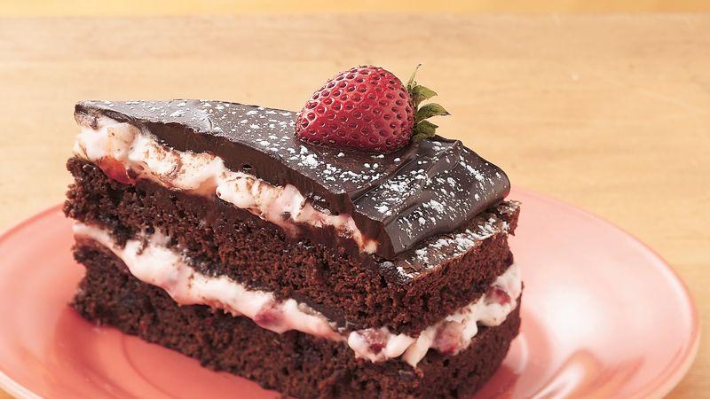 Fudge-Strawberry Cream Torte
