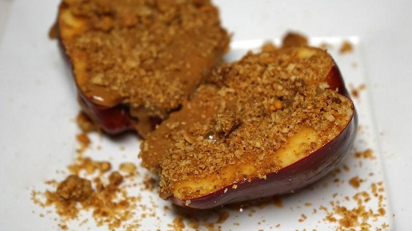 Caramel Apples with Granola Crumble