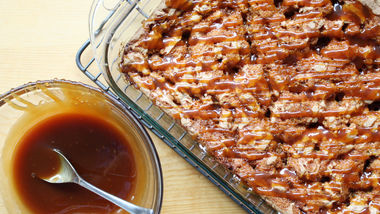 Toffee Blondies with Whiskey-Caramel Sauce